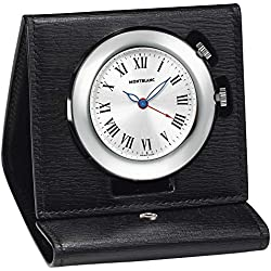 NEW MONTBLANC MONT BLANC SWISS MADE BLACK LEATHER TRAVEL WATCH CLOCK 101569