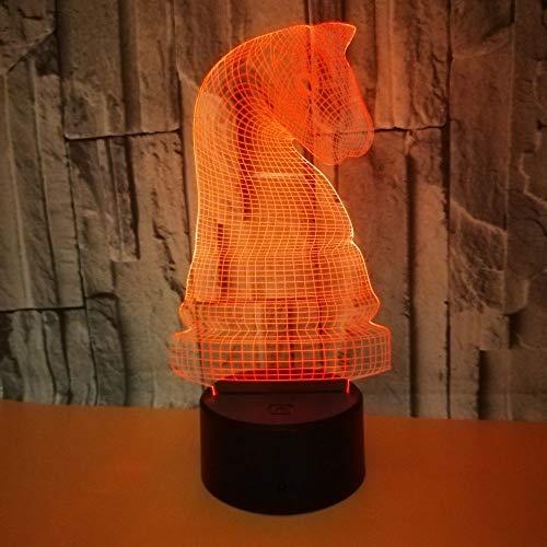 3D Lamp International Schach Nacht Illusion Tischlampe, AA-Batterie/USB, Touch-Schalter, 7 Farben, für Tischdekoration und Nachtdekoration - Sockel Schach