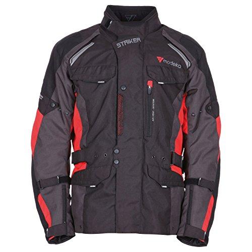 Modeka STRIKER Herren Touring Motorradjacke Textil - schwarz dunkelgrau rot Größe 6XL