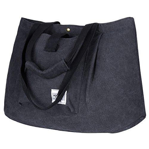 Gemeer Canvas Shopper Tasche Schultertasche Handtasche für Einkäufe Schule Reisen Arbeit Dunkelgrau