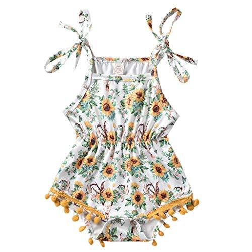 Alwayswin Säuglingsbaby Mädchen Ärmellos Sonnenblume Strampler Quaste Blumige Spielanzug Sommer Frisch Mode Festkleid Bodysuit Gelb Wild Sling Kleid Jumpsuit Party Kleidung