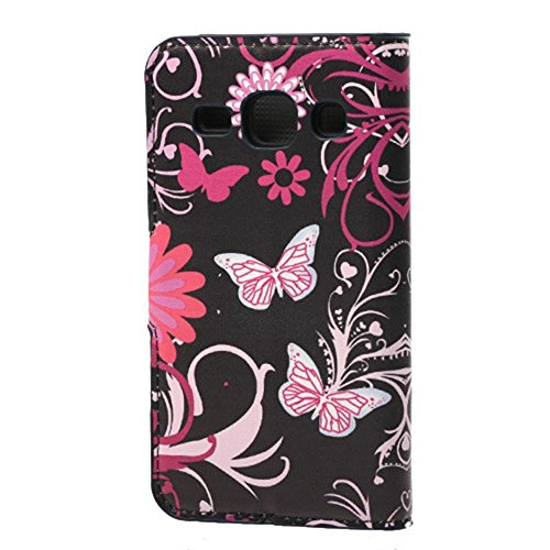 Housse Samsung Core Plus,Étui à Rabat Coque en PU Cuir Étui Pour Samsung Galaxy Core Plus (GT-G3500 / SM-G350 / G3502) Case Cover Portefeuille Housse de Protection Protecteur (#2 Treillage coloré) Papillon rose