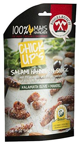 ChickUp's Salami Hähnchen-Snack mit Pflanzenöl und Pflanzenfett, Kalamata Olive-Mandel, 10er Pack (10 x 70 g)