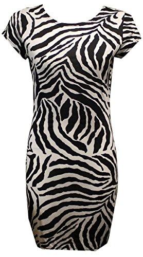 Nuovo esercito da donna con cappuccio e maniche animali Teschio Stampa tunica Mini Bodycon Top Vestito 8-22 Zebra XXL 52-54