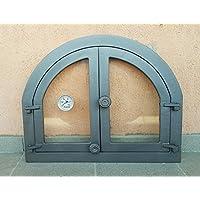 Porte de porte four à pizza Bois Four Pierre Four PORTE Disque en fonte avec four et thermomètre | Dimensions extérieures: 595x 480mm–öffnungsrichtung: zweiflügelig