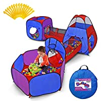 Yoobe 5-Piece Kids Play Tents Crawl Tunnels and Ball Pit Popup Bounce Playhouse Tent with Basketball Hoop for Indoor and Outdoor Use with Carrying Case