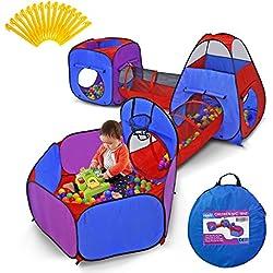YOOBE 5 pièces Kids Play Tents Tunnels et Ball Pit Popup Bounce Playhouse Tente avec Cerceau de Basket-Ball pour Une Utilisation intérieure et extérieure avec étui de Transport
