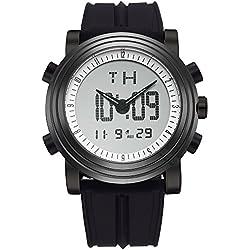 BUREI Mens Analog Digital Sport Montre électronique au Poignet avec réveil chronomètre LED rétro-éclairage et Bracelet en Caoutchouc