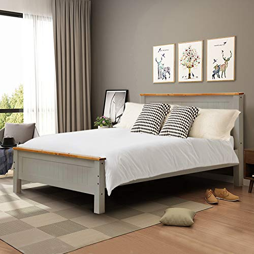 INMOZATA 5FT Solid Pine Wooden Bed Frame King Size Bed with Strong Headboard and Footboard Bedroom Furniture by Warmiehomy (Grey)