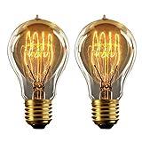vLoft Edison Glühbirne e27, 60w vintage Dimmbar retro fassung, Warmweiß (2 Stück)