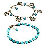 2 bracelets de cheville Luoem de style bohême en strass turquoises