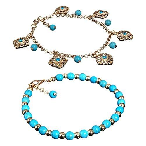 LUOEM 2pcs Bohemia Ankle Bracelet Boho Rhinestone Turquoise Foot Chain Anklet Bracelet