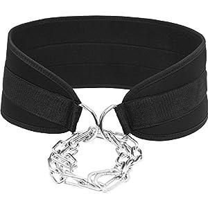GORILLA SPORTS® Dip-Gürtel Nylon mit Kette und Karabiner für Gewichtheben – Schwarz One Size