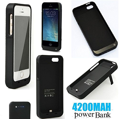 REALMAX® 4200mAh energienbank fall für iPhone 5 iPhone 5c iPhone 5S mit stand 4 led power indicator wiederaufladbare Batterie Fall schlank leichte trendy externe Backup Ladegerät kompakte iPhone 5 5 S 5C Reise-ladegerät Batterie Backup Fall (Schwarz) - Original Extended Capacity Battery