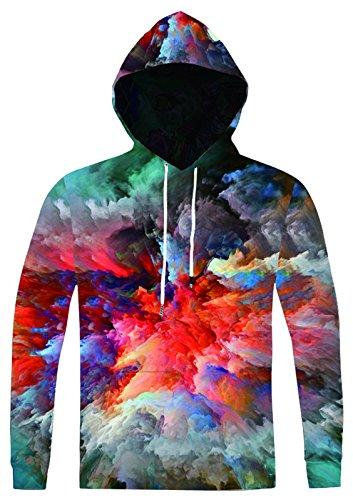 Pizoff Unisex Hip Hop Sweatshirts druck Kapuzenpullover mit Bunt 3D Digital Print AC020-03
