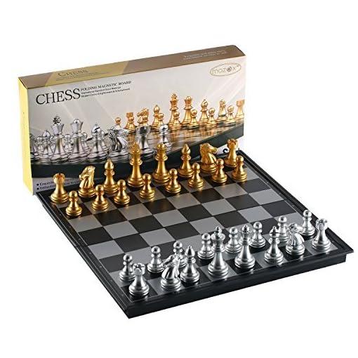 Faltende-magnetische-Reise-Schach-Set-von-MAZEX-fr-Kinder-oder-Erwachsene-Schach-Brettspiel