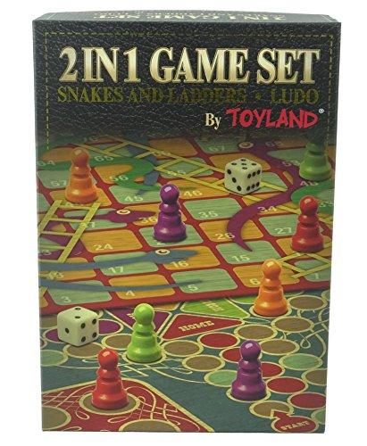 Toyland® 2 in 1 Family Brettspiel Set - Snakes & Ladders und Ludo - Traditionelle Brettspiele - Ladders Snakes