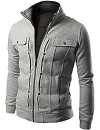 ZhuiKun Jacket Abrigos De Manga Larga Tops Cremallera Capa De La Chaqueta Outwear para Hombre