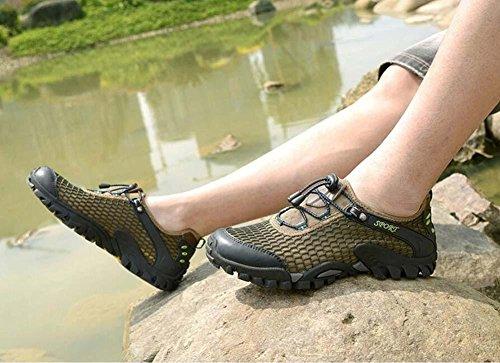 Onfly Pumpe Hohl Mesh Netto-Garn Sportschuhe Lässige Schuhe Männer Atmungsaktiv Pure Farbe ziehen Schnürsenkel Anti-Rutsch Sneker Draussen Klettern Schuhe Eu Größe 38-45 army green