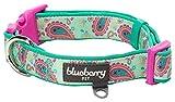 Blueberry Pet 1,5cm S Paisley-Druck Inspiriertes Ultimatives Hell-Smaragdgrün Neopren-Gepolsterte Hundehalsband, Kleine Halsbӓnder für Hunde