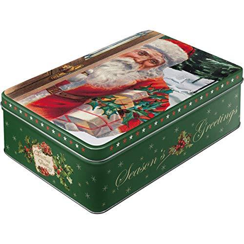 Nostalgic-Art 30738 Santa Clause | Vorratsdose Flach | Nostalgische Keks-Dose aus Metall mit Weihnachtsmotiv| Ideale Plätzchendose für Weihnachten