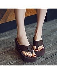 XIAMUO Hr. Slipper Frauen Sommer Fashion wear flip-flops Frauen dicke Sohlen Hang mit Strand Hausschuhe Muffins seaside Sandalen weibliche Modelle 34 braun Heels