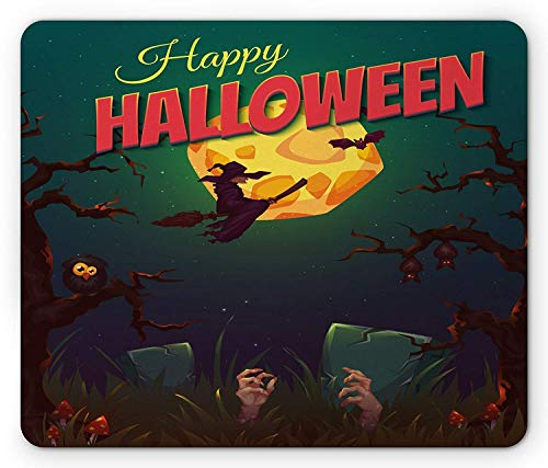ASKSSD Halloween Mouse Pad, Happy Halloween Poster Design Witch on Broom Mushroom Dead Resurgence Vintage, Standard Size Rectangle Non-Slip Rubber Mousepad, Multicolor