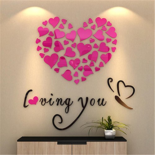 Indexp Removable 3D DIY Love Heart Wall Sticker Room Decoration Vinyl Decals(0.4x0.4M) (Pink)