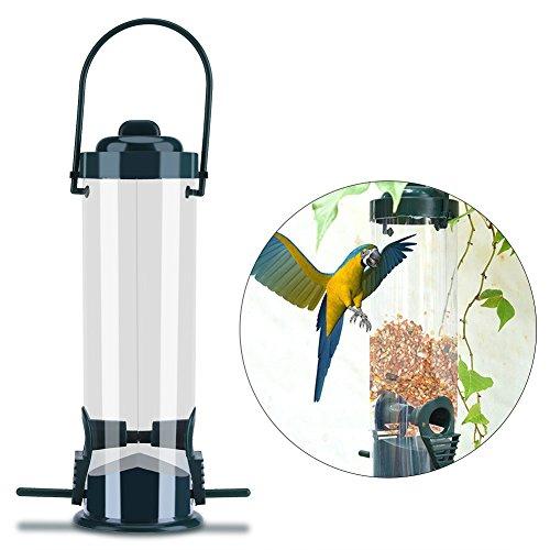 Ruiqas Wild Bird Feeder, Caged Bird Feeder-Aufhänger für den Außenbereich, Saatgutbehälter mit Stangenunterstützung und 2 Zuführöffnungen, wetterfest -