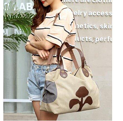 Frauen-Segeltuch-Beutel-Handtaschen-Art Und Weise In Europa Und Amerika-großes Kapazitäts-beiläufiges Leder Khaki