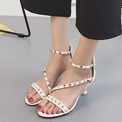 XY&GKSandales femmes Sandales d'été, rivets, Chaussures Femmes à la mode,le meilleur service 38white