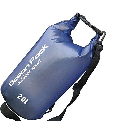 Glaray galleggiante impermeabile borsa asciutta zaino a compressione per kayak pesca canottaggio (blu, 20l)