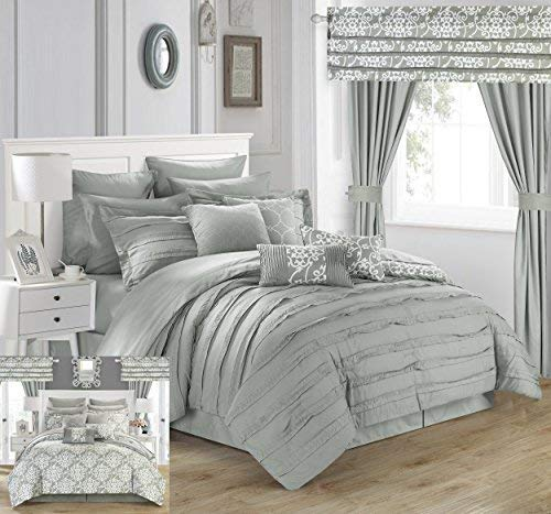 Chic Home 24Stück Hailee komplett Plissee Rüschen und beidseitig Bedruckt Bett in Einem Beutel Tröster Set mit Fenster Behandlung, King, Silber (24 Stück Tröster Set)