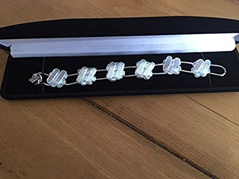 HARDWARE FOR YOU LTD CLEAR TRANSLUCENT SILVER FINISH BRACELET DICHROIC GLASS JEWELLERY HAND MADE