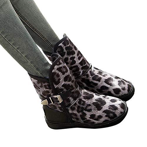 TianWlio Boots Stiefel Schuhe Stiefeletten Frauen Herbst Winter Flache Schuhe im Rundhalsausschnitt mit Leopardenmuster Halten Sie Warme Schnallenriemen Schneestiefel Weihnachten Schwarz 39