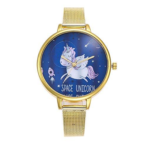 Souarts Damen Armbanduhr Einfach Mesh Metallarmband Flamingo Ananas Einhorn Regenbogen Casual Analoge Quarz Uhr Silber Farbe Einhorn Mädchen Uhr (Gold 1)