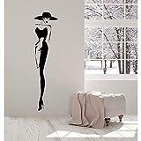 Qvzxn Vinile Adesivo Top Modello Di Moda Cappello Retro Lady Style Donna Adesivi Regalo Unico 21X89Cm
