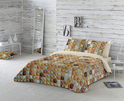 Duvet cover MOD. BROWN MOSAIC bed 135 cm. (220 cm. X 260 cm. ) + 1 PILLOW COVER (45X150 cm) 100% COTTON Available for bed of 90 105 135 150 and 180.