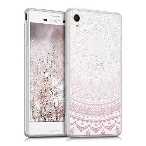 kwmobile Crystal Case Hülle für Sony Xperia M4 Aqua aus TPU Silikon mit Indische Sonne Design - Schutzhülle Cover klar in Rosa Weiß Transparent