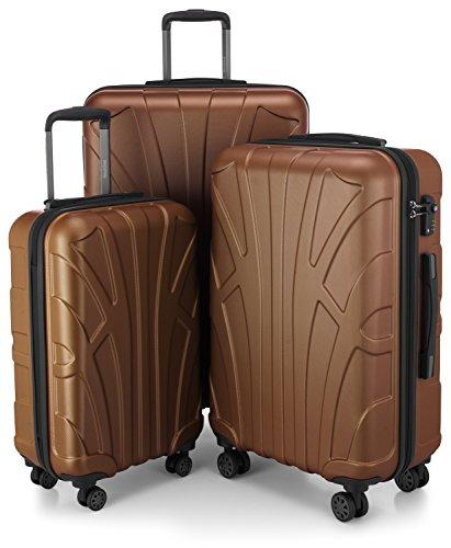 SUITLINE - 3er Koffer-Set Trolley-Set Rollkoffer Hartschalen-Koffer Reisekoffer, TSA, (S, M & L), Braun