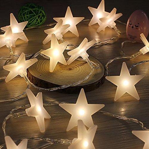 Preisvergleich Produktbild COOSA LED Lichterkette / 20 LED Sterne Lichterketten Batteriebetrieben Warmweiß / Außen- und Innen Beleuchtung Deko für Garten,  Wohnungen,  Tanzen,  Hochzeit,  Weihnachtsfeier usw. Neu Jahr und Weihnachtsdeko (warm)