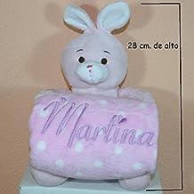 PRIMERAEDAD/Peluche conejo más manta personalizada con nombre bebé/color rosa/
