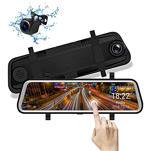 Mirror Dash Cam 1080P Dual Lens Touch Screen IPS da 9.66 pollici, Telecamera Anteriore Grandangolare da 170º e Telecamera Posteriore Impermeabile con Sensore di Parcheggio Monitoraggio del Movimento