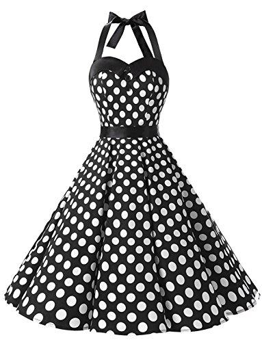 Dressystar DS1957 Robe de Bal Polka Vintage pin-up à 'Audrey Hepburn' 50's 60's Rockabilly Halter,Dos Nu, Noir à Pois Blanc S