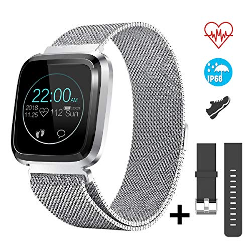 Imagen de catshin smartwatch android/ios con pulsómetro,cs08 pulsera actividad reloj deportivo inteligente con impermeable ip68 cronómetro,monitor de sueño,podómetro,notificación de mensajes por mujer