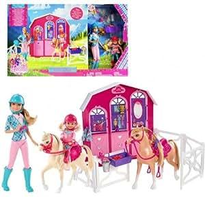 Barbie - Cheval Set Chance avec Stable & Horses & Poupées Stacie & Chelsea