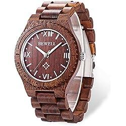 Bewell ZS - W065A Reloj de Cuarzo Analógico para Hombre de Madera con Funsión del Canlendario (Red)