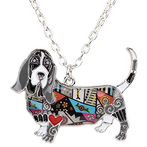 AISHIPING Emaille Basset Hound Dog Halskette Anhänger Souvenir Statement Choker Kette Kragen Modeschmuck Für Frauen -