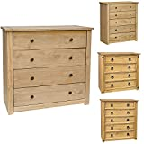 Home Discount  Chest of Drawers Solid Pine 4 Drawer Bedroom Furniture Waxed