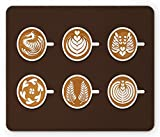 Coffee Mouse Pad, Latte Espresso Mocha Americano Cups with Tree Heart Leaf Flower Shapes Image, Standard Size Rectangle Non-Slip Rubber Mousepad, Amber Brown White